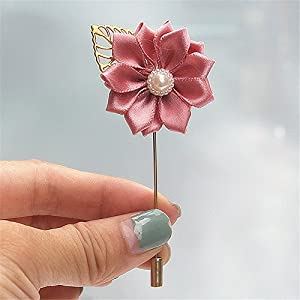 S-SSOY Boutonniere Bridegroom Groom Men's Boutonniere Groomsmen Best Man Boutineer with Pin Artificial Flower Brooch Corsage for Wedding Homecoming Prom Suit Decor Deep Pink Pack of 4 51