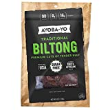 Ayoba-Yo Biltong. Tender Beef Snack. Better than Jerky. Paleo and Keto Friendly. High Protein Steak Cuts. Made with Premium Meat. No Carbs. Gluten Free & Sugar Free. No Nitrates. 4 Ounce