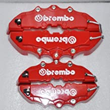 Set of 4 3D Red Brembo Style Rear&Font Universal Brake Caliper Cover for Mazda VW Benz Audi BMW Size Is:9.4488X2.4409 And 7.4803x2.0472 Inch