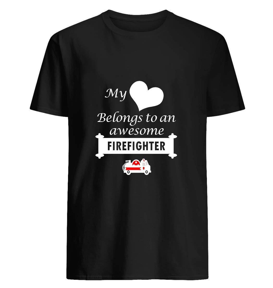 Anniversaire D Amant Pompier Surprise Mon Coeur Appartient T Shirt For Un
