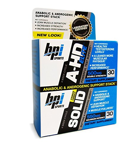 BPI Sports A-HD Elite/Solid Combo 500/550mg Testosterone Booster Capsules, 30 Count (Pack of 2)