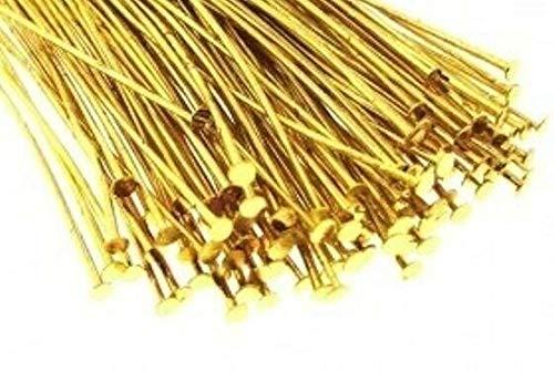 1 Pound Gilt Plated Brass / 1 Inch Head Pins / 0.28 Diameter / 21 Gauge'' by Aveshop