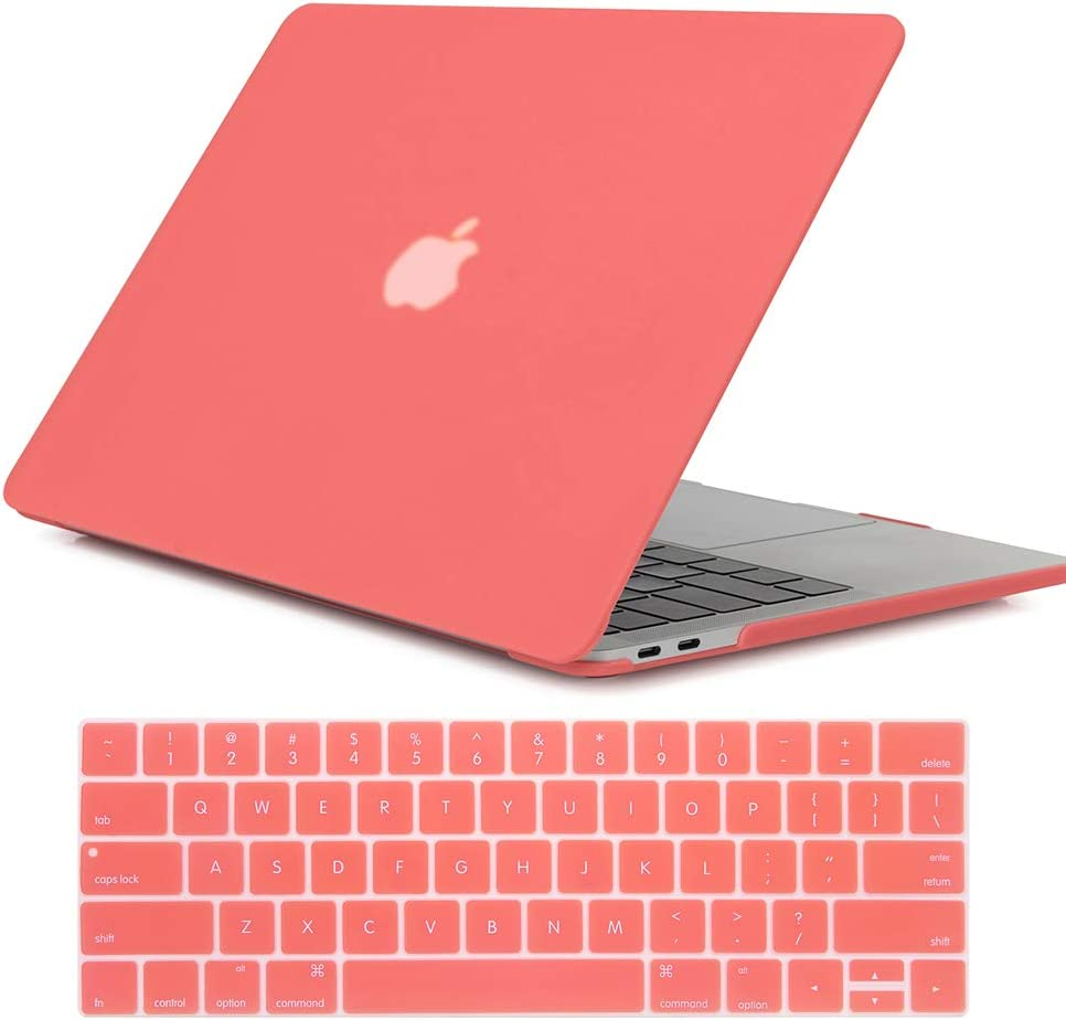 Se7enline MacBook Pro 15 in with Touch Bar Case Soft-Touch Plastic Hard Shell Cover for MacBook Pro 15 inch Model A1707/A1990 with Touch Bar Touch ID 2016/2017/2018 with Keyboard Cover,Living Coral