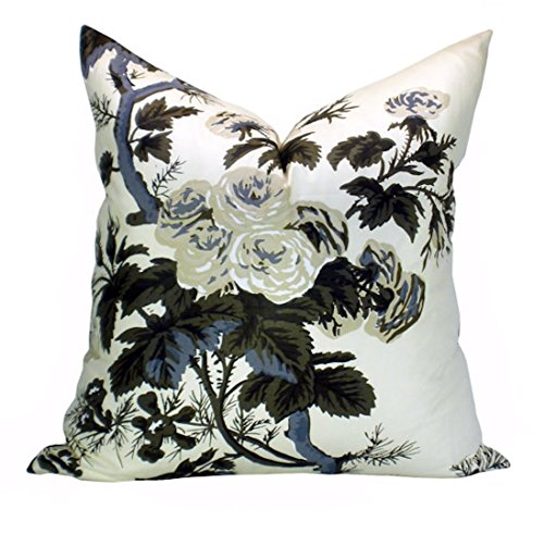 Pyne Hollyhock pillow cover in Charcoal- 22 x 22