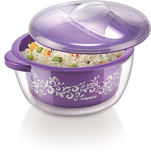 Nayasa Nova Plastic Casserole with Spoon, 1.5 litres, Purple