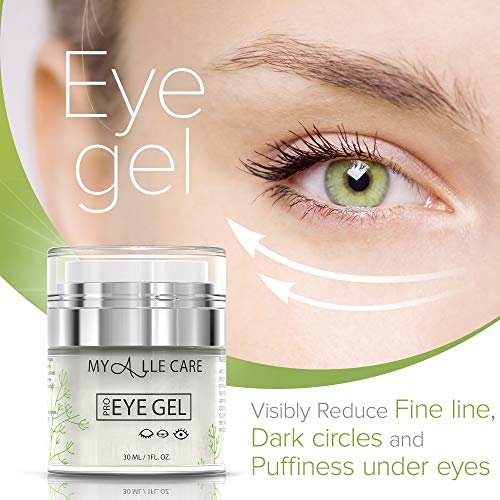 51YYeXbfEKL - Eye Gel with Hyaluronic Acid, Reduce Dark Circles, Puffiness and Eye Bags. Anti Wrinkle Under Eye Treatment, Hydrating Gel with Collagen, Aloe and Vitamin E, Anti Aging Cream for Men & Women