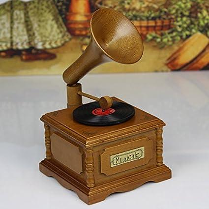 Hecho a mano caja de música fonógrafo gramófono Tocadiscos ...