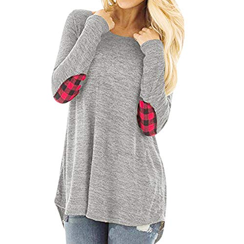 Women Casual Long Sleeve O-Neck Plaid Block Tops with Back Split T-Shirt Blouse