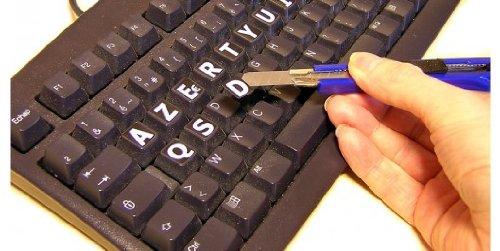 Pegatinas con letras grandes para teclado de PC (teclado francés AZERTY): Amazon.es: Electrónica