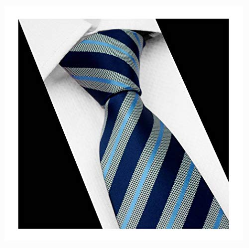 Men's Striped Navy Grey Blue Party Jacquard Woven Tie Eco-friendly Satin Necktie