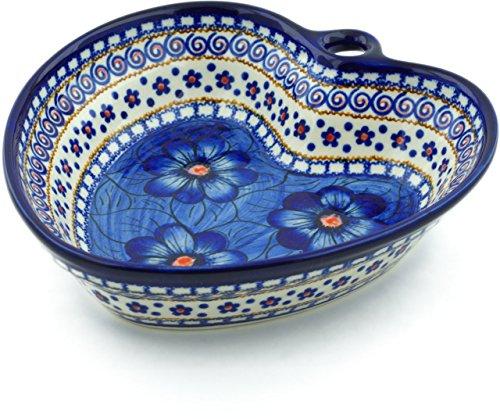 - Polish Pottery 7¾-inch Heart Shaped Bowl (Blue Heaven Theme) Signature UNIKAT + Certificate of Authenticity
