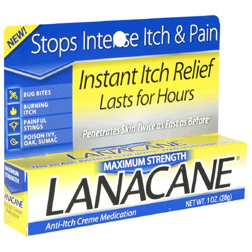 Strength Anti Itch Medication Cream (LANACANE CREME MAX STRENGTH Size: 1 OZ [Health and Beauty] [Health and Beauty])