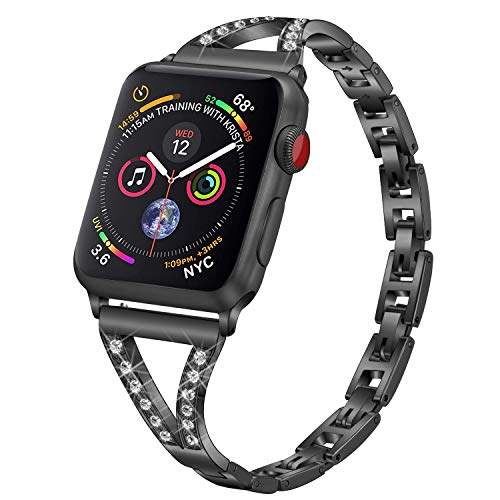 PUGO TOP Replacement for Apple Watch Band 40mm Series 5 4 Iwatch iPhone Watch Bracelet Link Band 38mm Series 3/2/1 for Women(38/40mm, Black)