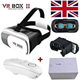 VR Headset VR BOX FREE VR Bluetooth Remote Controller Enhanced 2nd Gen Virtual Reality VR 3D II Glasses With Adjustable Lens And Strap For 3.5-6.0 Inch Apply To IPhone 5/5s/SE/6/6s/6 Plus/6s Plus Samsung S6 S7 Edge Note 4 Huawei P9 P8 5X Ascend P6 GX8 Ascend G510 G520 Y530 M1 For 3D Movies and Games by BeckenBower (Black)