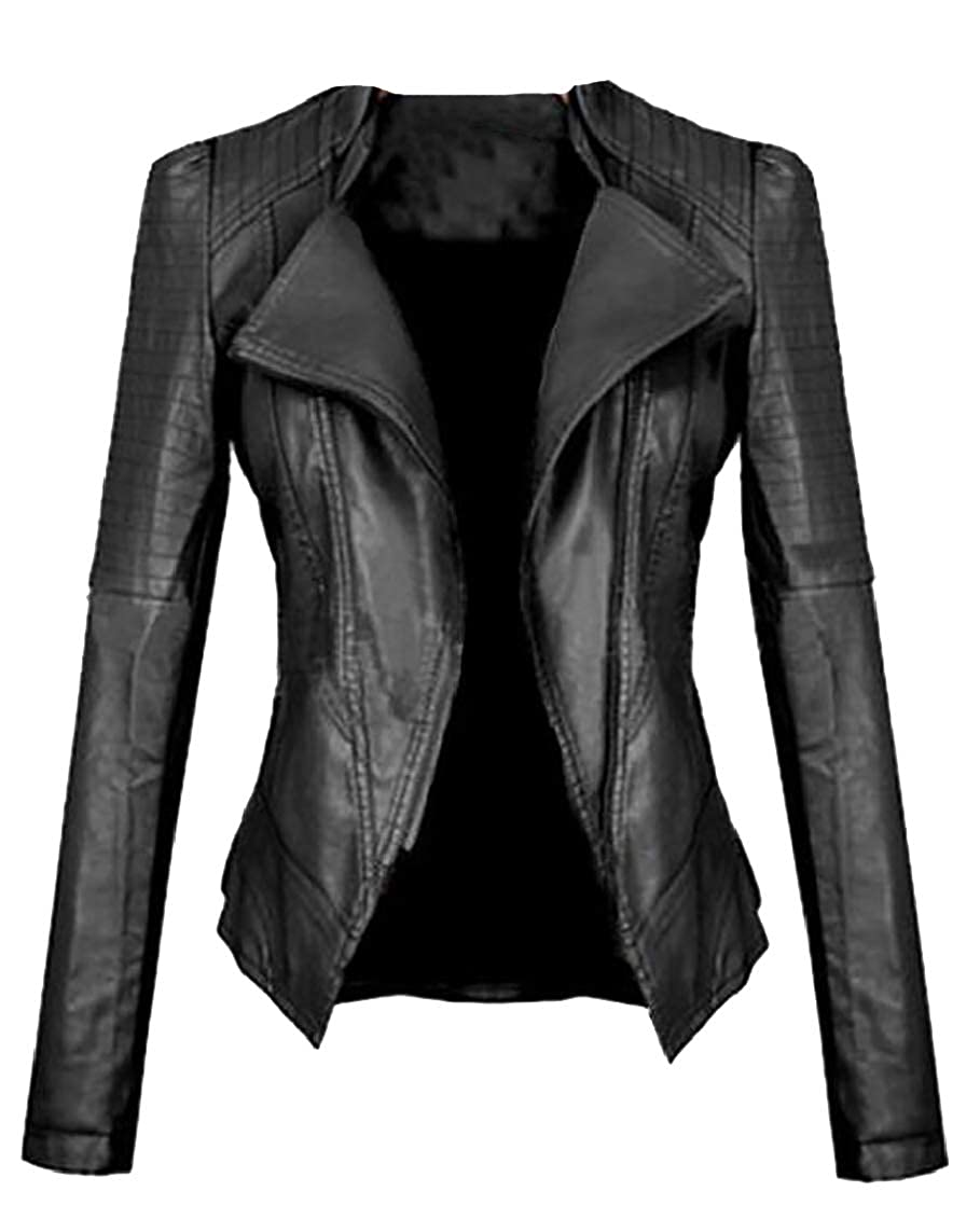 Women's Tailored Zip-up Faux Leather Quilted Racer Jacket