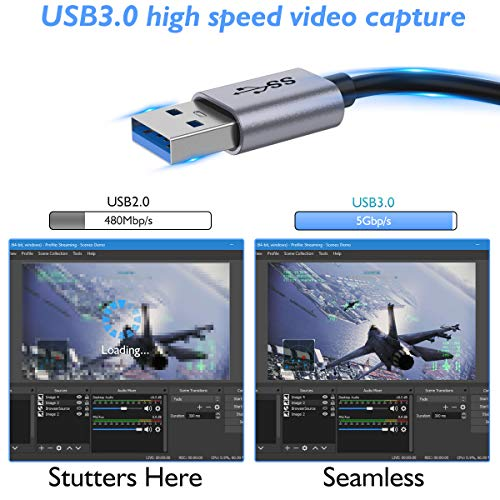 QGeeM Capture Card, Game Capture Card, HDMI to USB 3.0, 1080P 60fps Full HD Video/Audio Capture Recorder Device, Compatible with PC, Mac OS, Linux