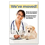 Moving Notice Postcards for Veterinarians. Customizable on Card Back with Practice Info. 4'' x 6'', Full-Color Front & Premium High Gloss UV Coating. Black Text on Back, Sturdy 14 pt Card Stock
