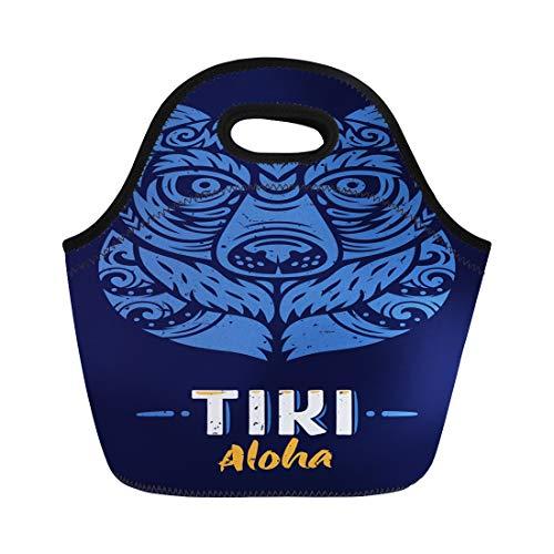 Semtomn Lunch Bags Culture Aloha Bear Tiki Totem Polynesian Tattoo Bar Enchanted Neoprene Lunch Bag Lunchbox Tote Bag Portable Picnic Bag Cooler Bag