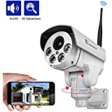 Luowice 1080P Wifi Security Camera Outdoor 2MP with PTZ 4X Zoom with Audio Night Vision and Built-in 32G SD Card IP66 Waterproof IP Camera
