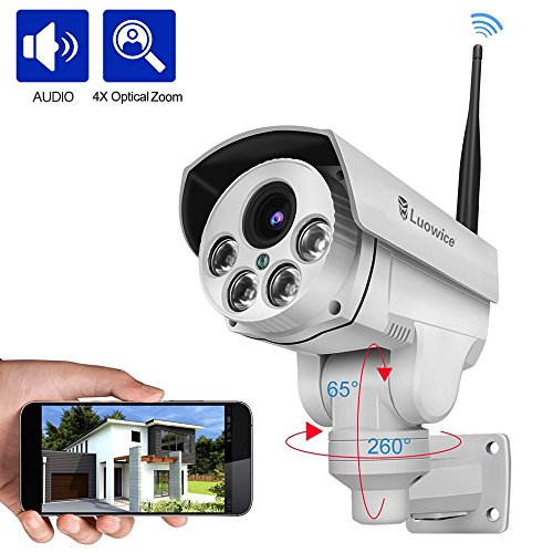 Luowice 1080P Wifi Security Camera Outdoor 2MP with PTZ 4X Zoom with Audio Night Vision and Built-in 32G SD Card IP66 Waterproof IP ()