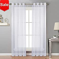 NICETOWN Sheer Curtain Panels Bedroom - Home Decoration Solid Voile Panels with Ring Top (2-Pack, 54 Wide x 84 inch Long, White)