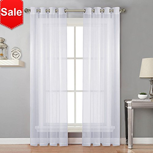 Voile Panel Skirt - NICETOWN Sheer Curtain Panels Bedroom - Home Decoration Solid Voile Panels with Ring Top (2-Pack, 54 Wide x 84 inch Long, White)