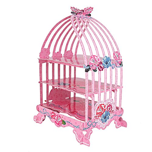 WEIYI Practical 3-Tier Birdcage Shaped Cardboard Cupcake Display Stand (Pink Rose)