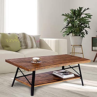 Olee Sleep 46'' Cocktail Wood Coffee Table with Natural Wood Top & Dura Metal Legs/Basic Item at Home, Rustic Brown, 18TB01S