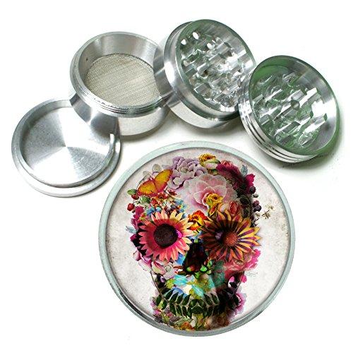 Flower Skull Aluminum Tobacco Grinder