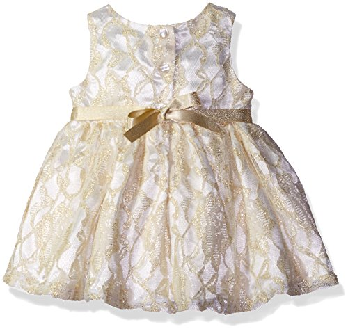 Youngland Baby Girls' 2 Piece Lace Dress and Knit Cardigan, Gold/Ivory, 0-3 Months