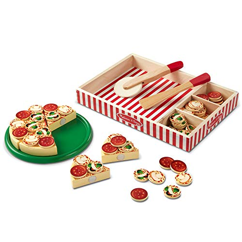 Melissa & Doug Pizza Party Wooden Play Food (Pretend Play Pizza Set, Self-Sticking Tabs, 54+ Pieces, Great Gift for Girls and Boys - Best for 3, 4, and 5 Year Olds) (Best Selling Toys For 3 Year Olds)