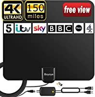 TV Aerial, [2021 LATEST] Boyoye Indoor TV Aerial for Digital Freeview 4K 1080P HD VHF UHF for Local Channels 150+ Miles...