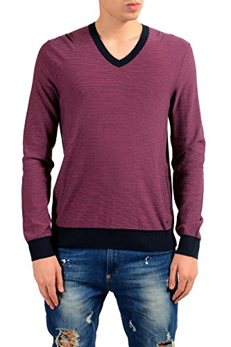 Hugo Boss Kipaue Men's Silk Striped V-Neck Sweater US M IT 50 (Hugo Sweater Striped Boss)