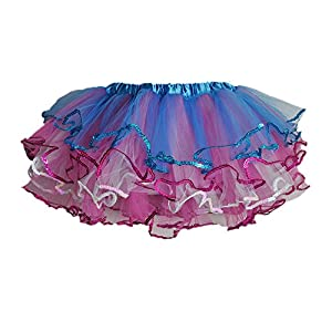 - 51YYhYAeh3L - Blue/Hot Pink Tulle Tutu w/Sequin Trim 4 Layers
