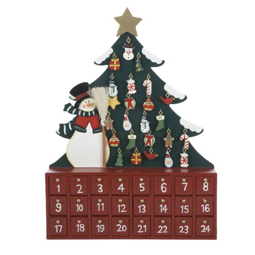 Kurt Adler Wooden Snowman with Tree Advent Calendar by Kurt Adler