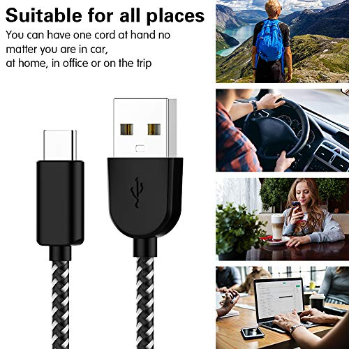 Amazon.com: USB-A to USB-C Cable, TNSO USB Type C Cable 5 Pack 3/3/6/6/10FT Nylon Braided Charging Cable Sync and Charge for Samsung Galaxy S9 S8 Plus Note 8, LG G5-Black: Cell Phones & Accessories