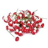 100pcs Miniature Dollhouse Fairy Garden Landscape Foam Mushroom - Red
