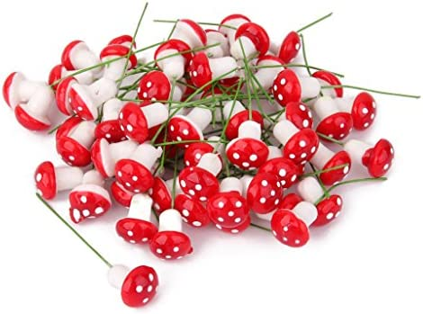 joyMerit 100個のカラフルなミニチュアドールハウスの妖精の庭の風景の泡キノコ - 赤