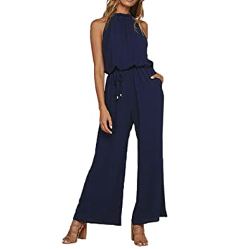 8fb6c51ecbcb Fheaven (TM) Clearance Jumpsuits High Neck Women Summer Jumpsuits Solid  Halter Chiffon Off Cold