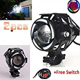 2pcs Waterproof 3000LM Super Bright 125w Motorcycle Fog Light Spotlight + 2pcs ON/OFF Switch CREE LED Universal Motorcycle Headlight Work Light Driving Spot Lamp Headlamp With Colorful Angel Halo Ring