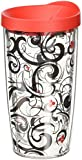 Tervis Berry Swirl Wrap Tumbler with Red Lid, 16-Ounce
