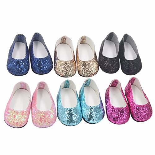 18 Inch Doll, Cute 6PCS Glitter Sequins Shoes Doll Dress,Fits Our Generation American Girl Dolls