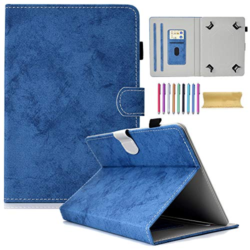 8.0 inch Universal Wallet Case, Motie Protective Slim Stand Cover Case for iPad Mini/Galaxy Tab/Fire HD 8/Mediapad/Lenovo/RCA/Acer/LG G Pad/Lenovo and More 7.5-8.5 inch Tablet (Blue) (Lenovo Tablet Case S8)