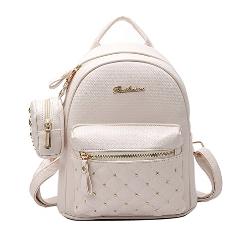 Backpacks white Teenage for SODIAL Bag Bags Backpack White Bag Women's School Small Leather Women's Retro Lady PU HnHFP1Z