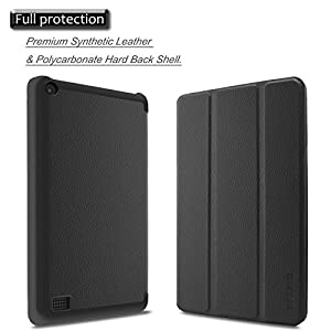 Infiland Case for All-New Fire 7 Tablet (2017 7th Generation) - Ultra Slim Lightweight Tri-fold Stand Cover For All-New Fire 7 Tablet (7th Generation, 2017 release), Black