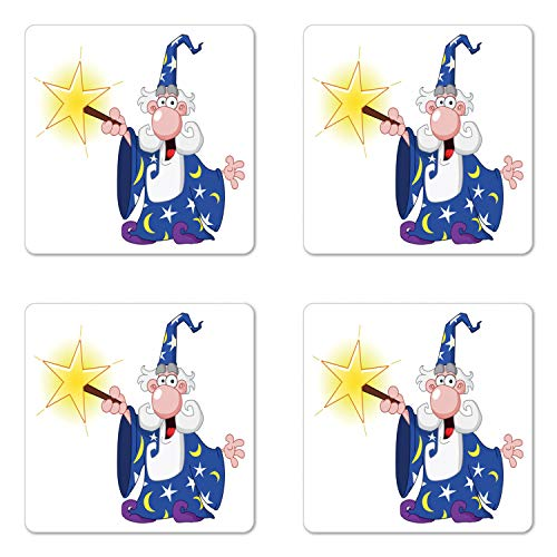 Ambesonne Wizard Coaster Set of 4, Medieval Mage with a Crazy Face Expression Creating a Powerful Spell Clipart, Square Hardboard Gloss Coasters for Drinks, Multicolor