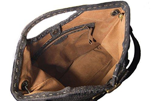 Kilaccessori - Ida: borsa con tracolla e a mano in vitello. Realizzata completamente a mano in Italia.