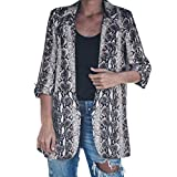 YUEZIHUAHUA Women Coats Womens Jackets Snake Print Business Turn Down Suit Long Sleeve Coat Turn-Down Collar Outerwear (L, Gray)