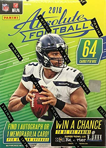 2018 Panini Absolute NFL Football BLASTER box (8 pk, ONE Memorabilia or Autograph card per ()