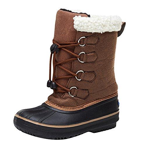 Hibote Unisex-Kinder Warm Gefütterte Schneestiefel, Winterstiefel 112707 Braun
